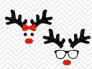 Reindeer Christmas Girl Boy Bow Glasses SVG and DXF Cut File • Png • Download File • Cricut • Silhouette - SVG File Cricut Kristin Amanda Designs