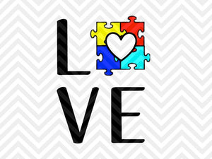 Love Autism Awareness Puzzle SVG and DXF Cut File • PNG • Vector • Calligraphy • Download File • Cricut • Silhouette - SVG File Cricut Kristin Amanda Designs