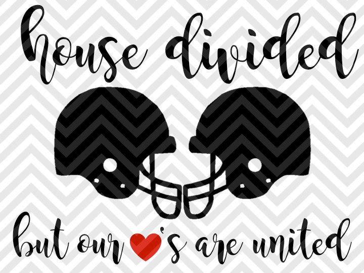 House Divided But Our Hearts Are United Football Season SVG and DXF Cut File • PNG • Vector • Download File • Cricut • Silhouette - SVG File Cricut Kristin Amanda Designs