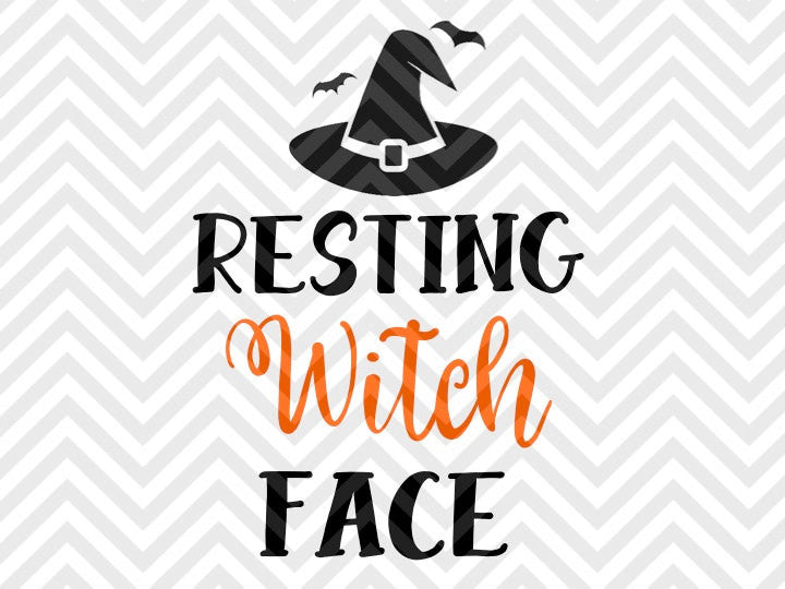 Resting Witch Face Halloween SVG and DXF Cut File • PNG • Vector • Calligraphy • Download File • Cricut • Silhouette - SVG File Cricut Kristin Amanda Designs