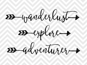 Wanderlust Explore Adventurer Travel SVG and DXF Cut File • PNG • Download File • Cricut • Silhouette - SVG File Cricut Kristin Amanda Designs