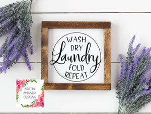 Laundry Room Wash Dry Fold Repeat SVG DXF EPS PNG Cut File • Cricut • Silhouette