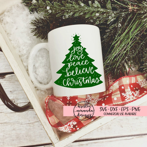 Joy Peace Believe Christmas Tree SVG DXF EPS PNG Cut File • Cricut • Silhouette - SVG File Cricut Kristin Amanda Designs
