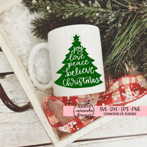 Joy Peace Believe Christmas Tree SVG DXF EPS PNG Cut File • Cricut • Silhouette