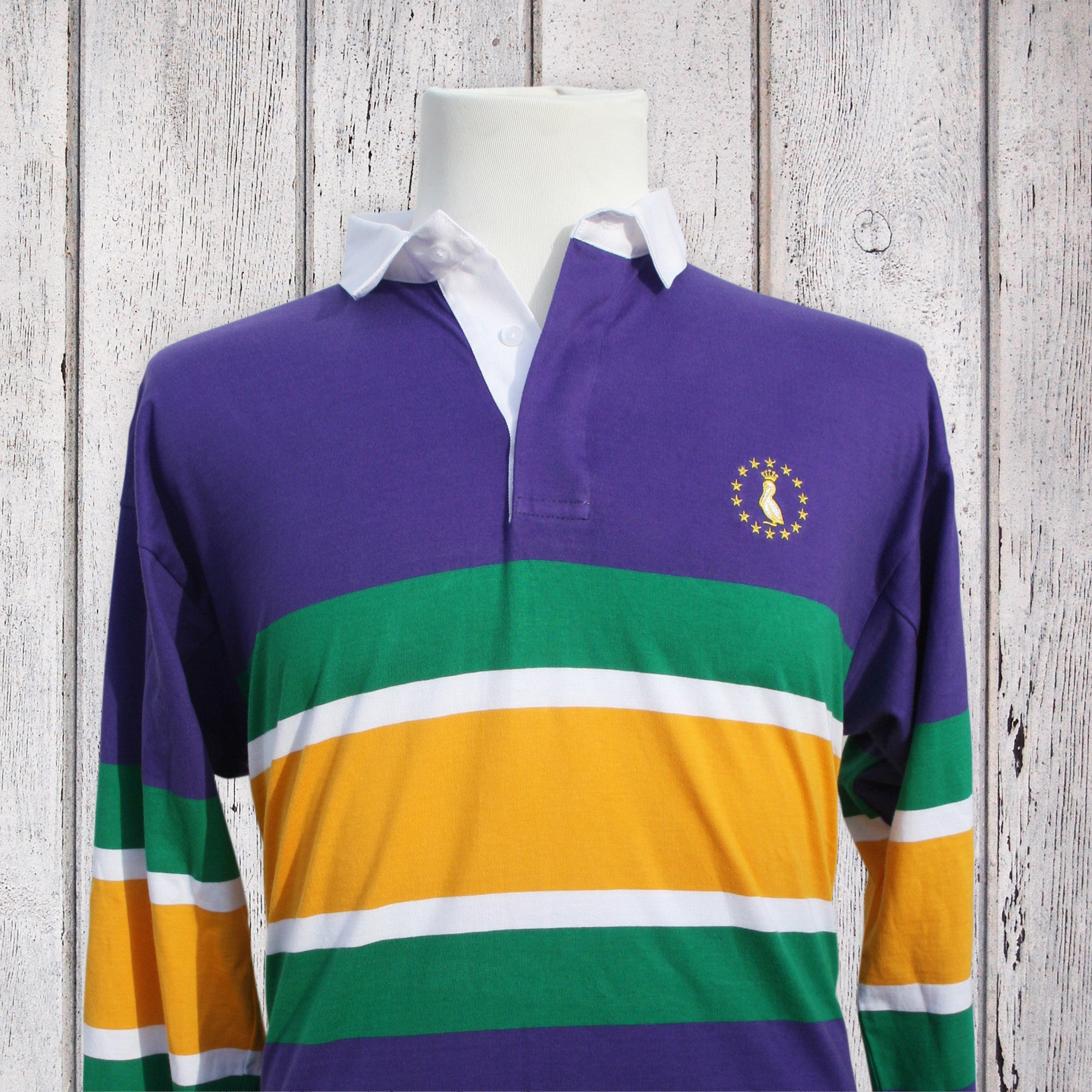 f43cb60303f Mardi Gras Rugby Shirt - Purple With MG Stripes - Pelican Coast Clothing