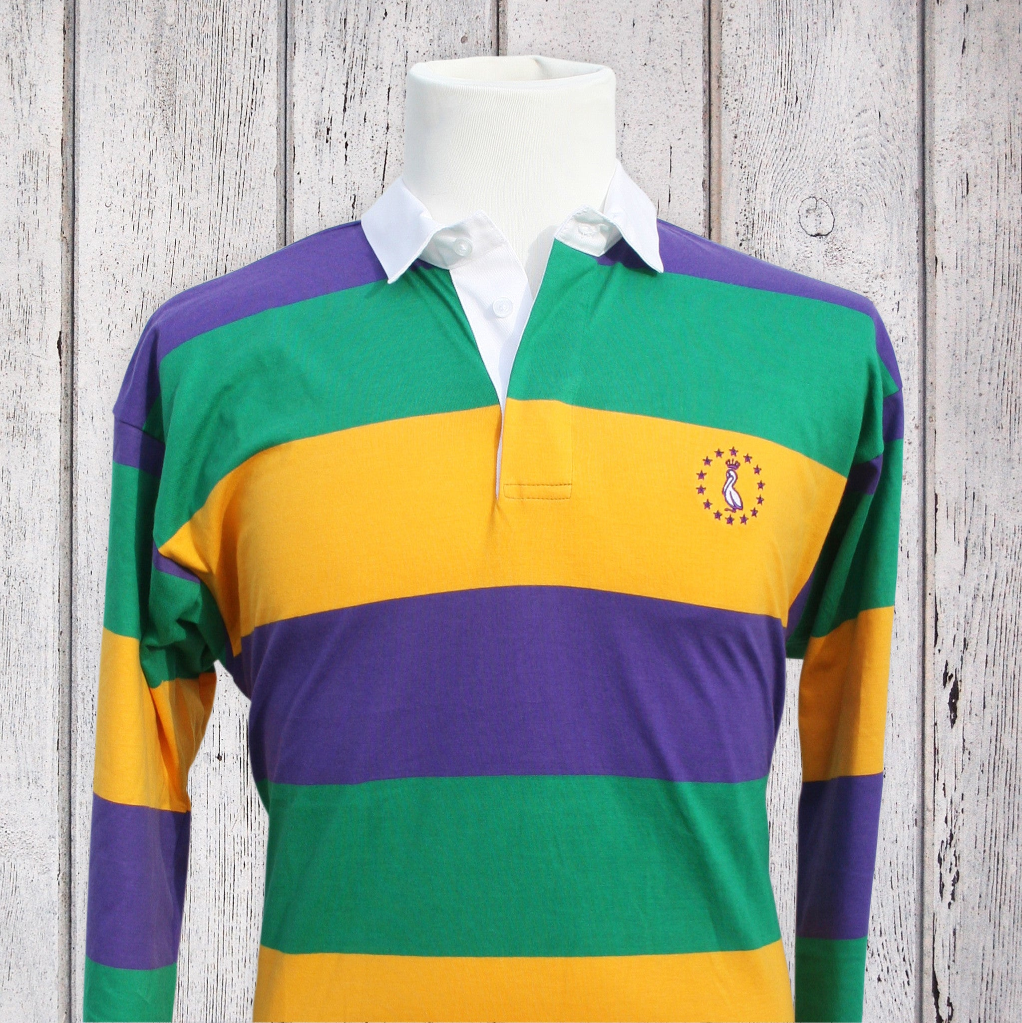 03699220 Mardi Gras Rugby Shirt - Repeat MG Stripes - Pelican Coast Clothing