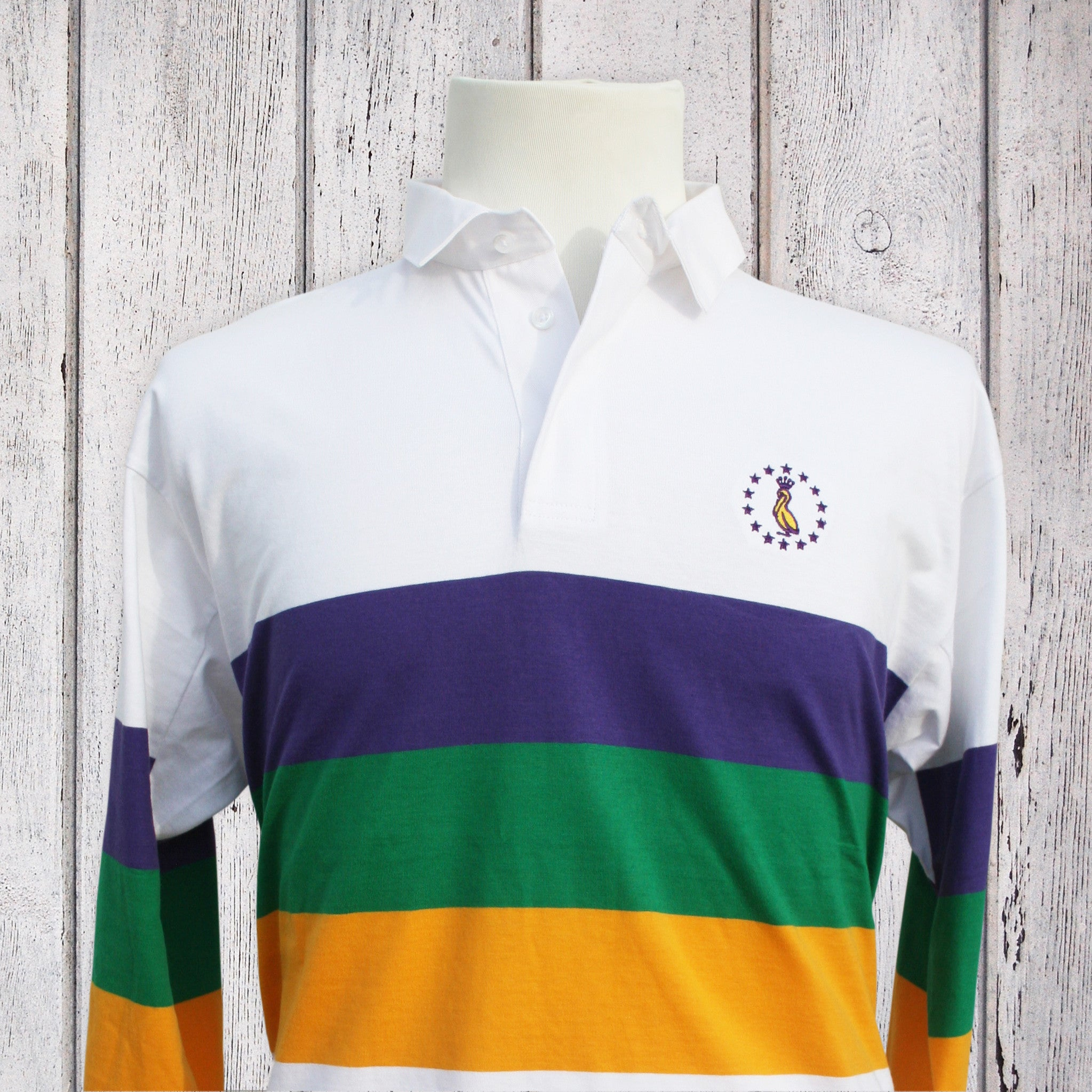 96a1ac29413 Mardi Gras Rugby Shirt - White With MG Stripes - Pelican Coast Clothing