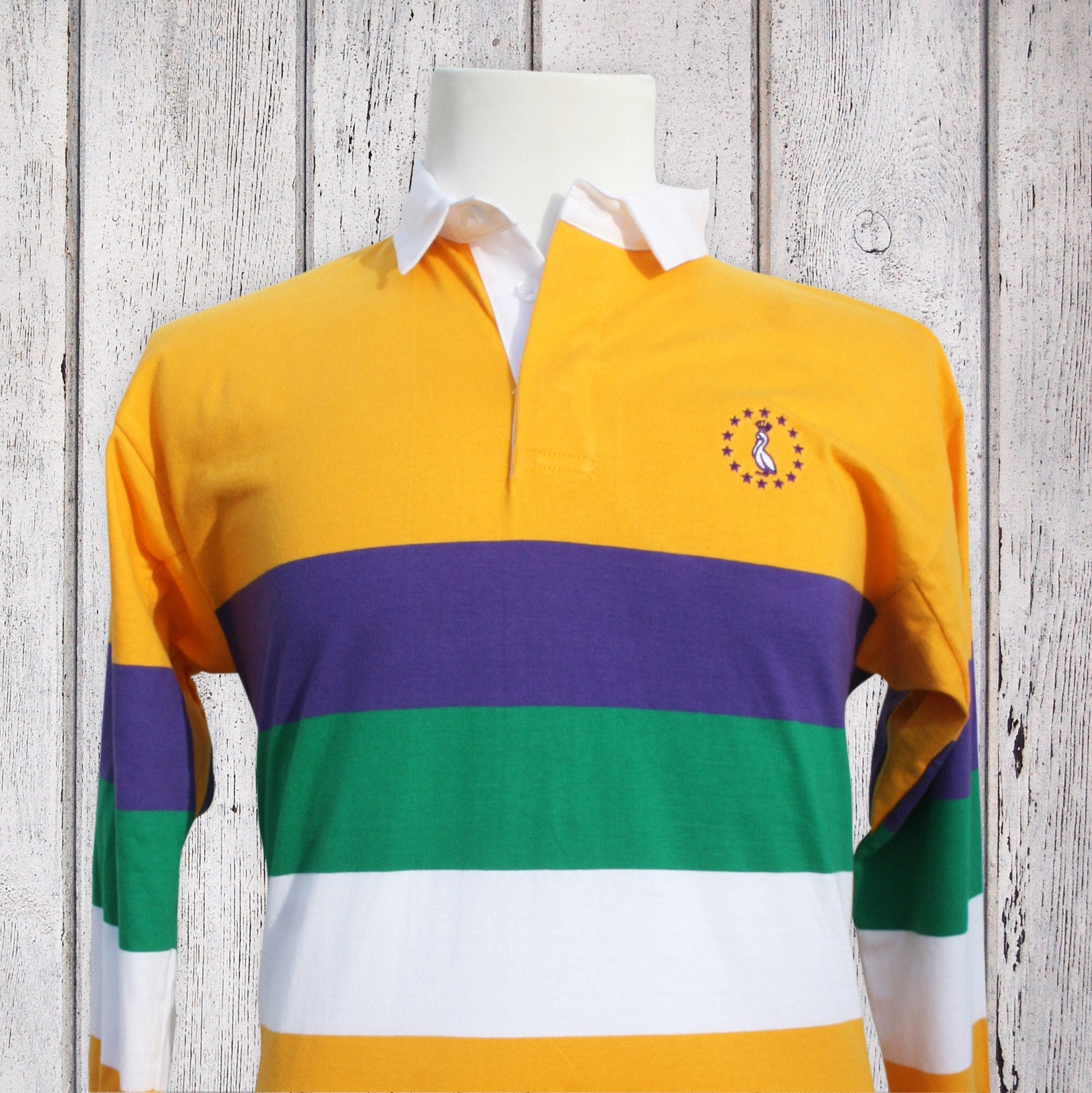 a3abf145e Mardi Gras Rugby Shirt - Gold With MG Stripes - Pelican Coast Clothing