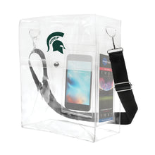 Load image into Gallery viewer, Michigan State University Clear Ticket Satchel