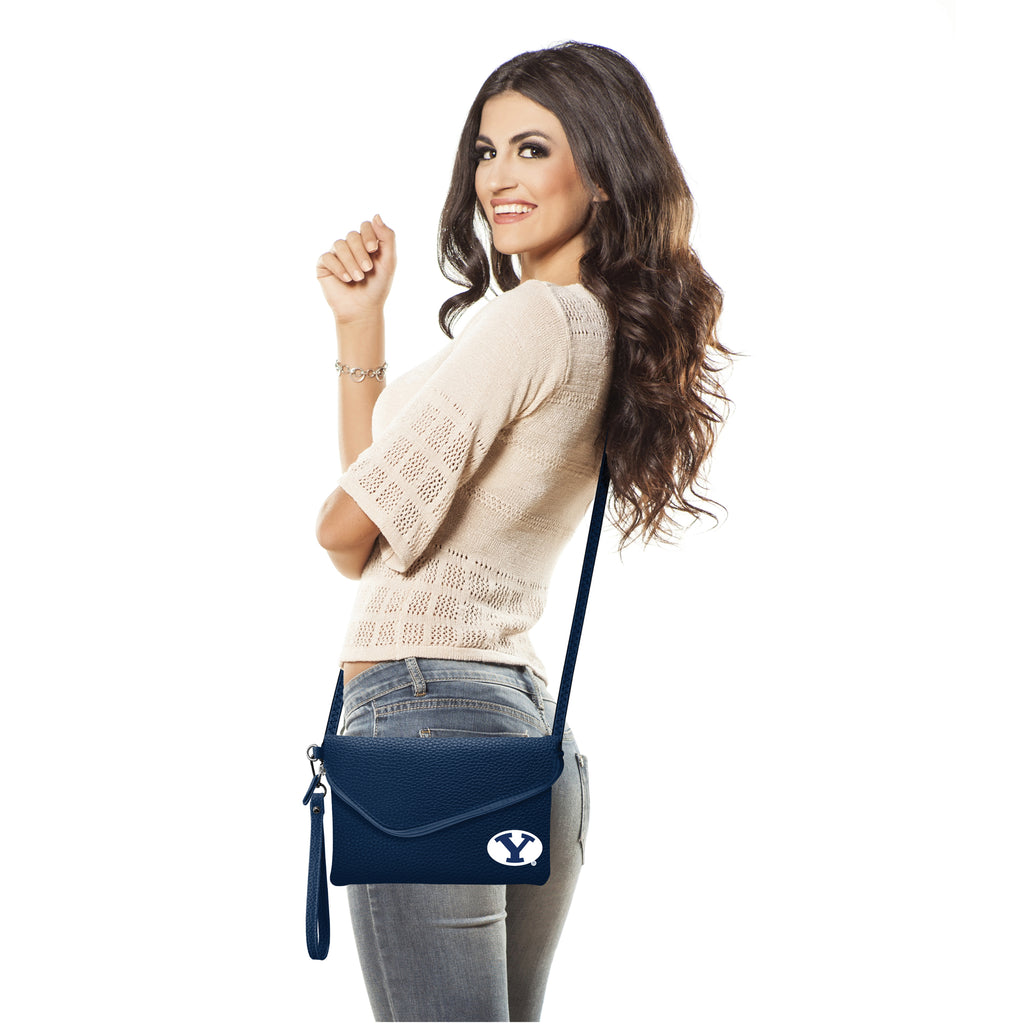 Brigham Young University Fold Over Crossbody Pebble