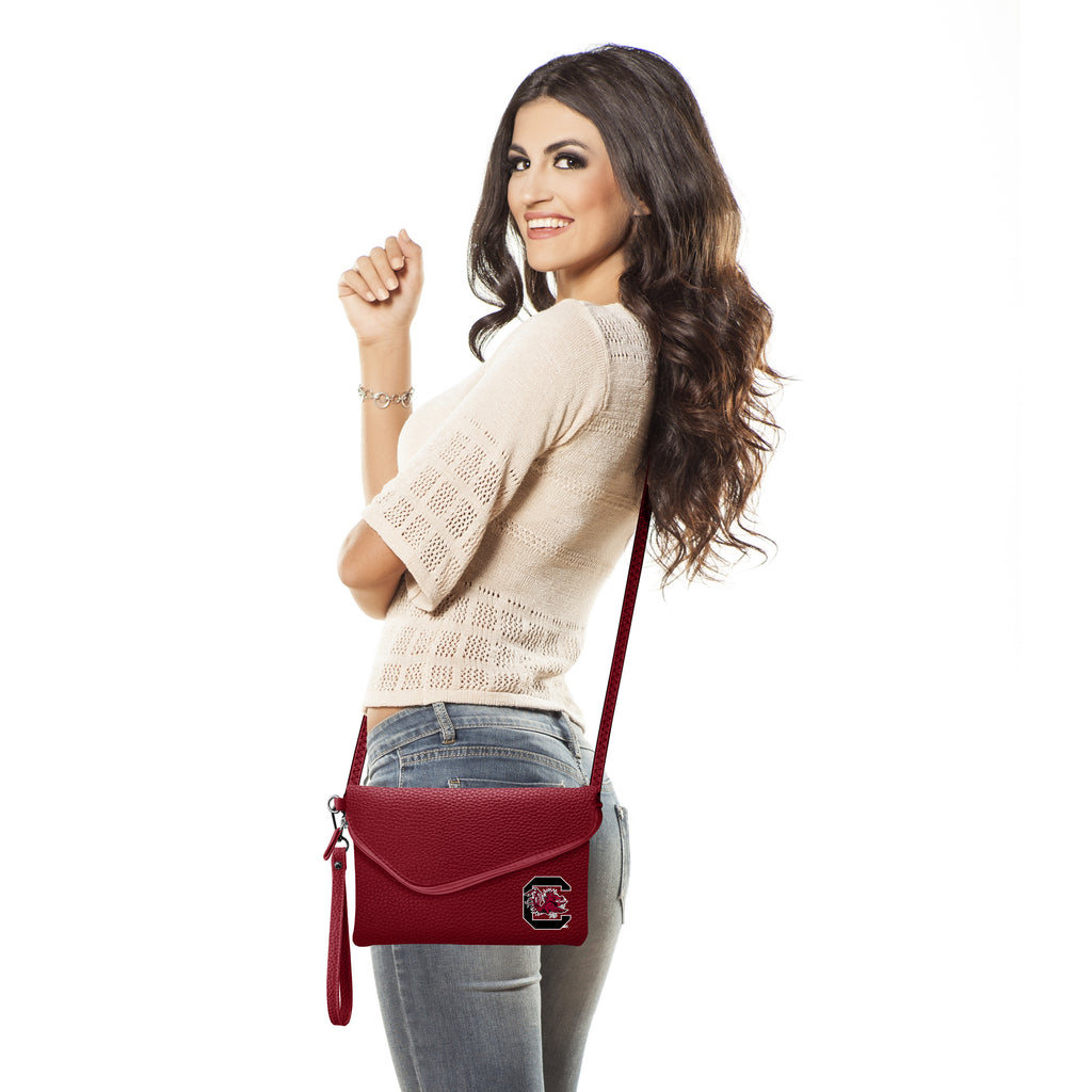 University of South Carolina Fold Over Crossbody Pebble