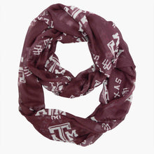 Load image into Gallery viewer, Texas A & M University Sheer Infinity Scarf