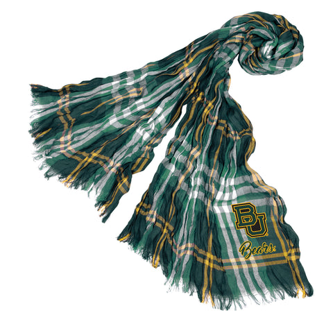 Baylor Bears Crinkle Scarf Plaid