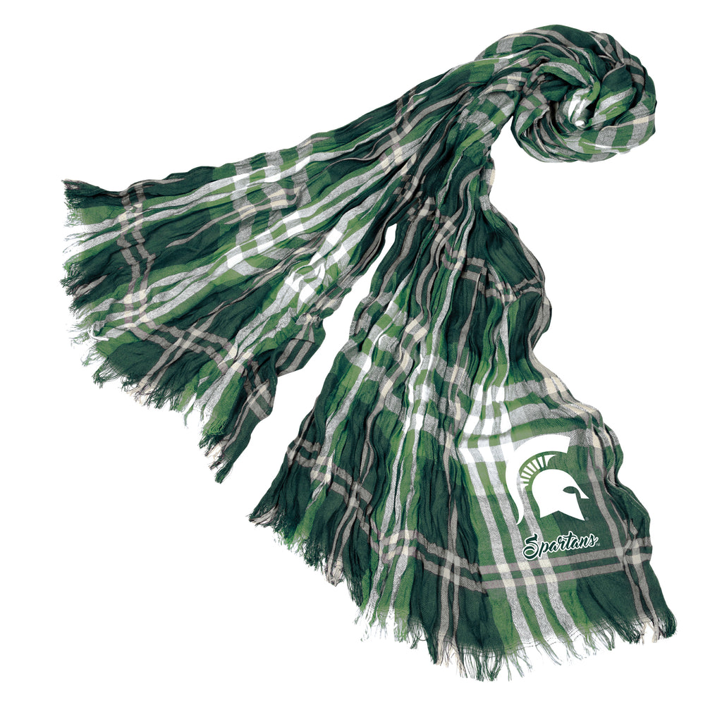 Michigan State Spartans Crinkle Scarf Plaid