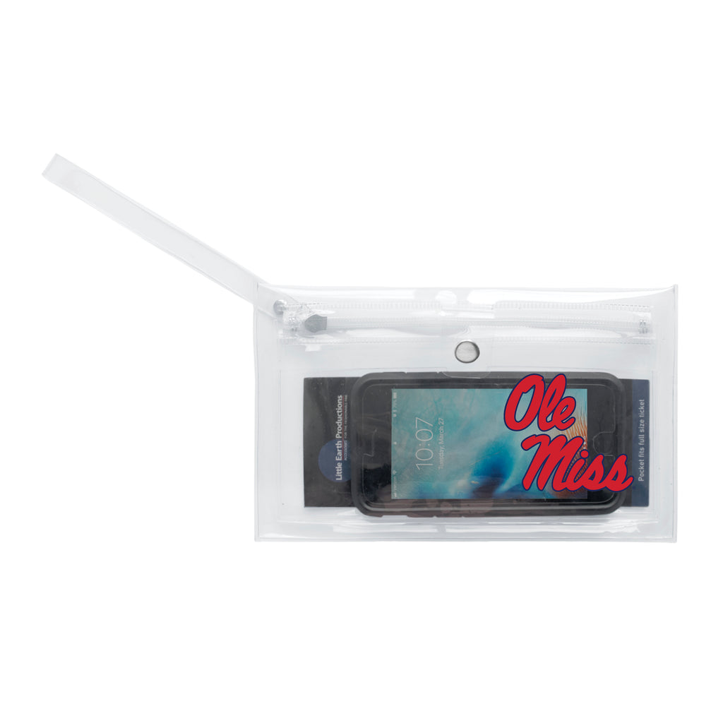 University of Mississippi Clear Ticket Wristlet