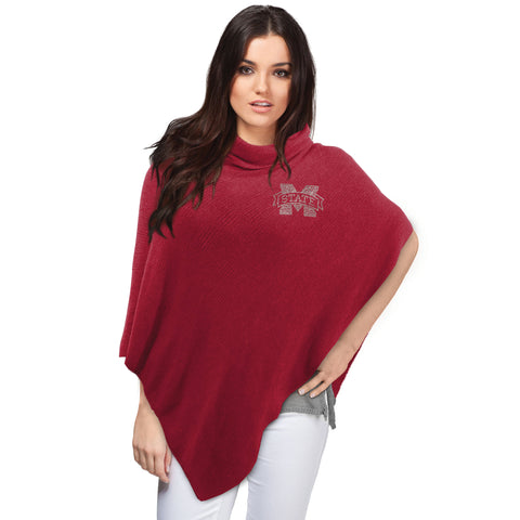 Mississippi State Bulldogs Asymmetrical Crystal Knit Poncho