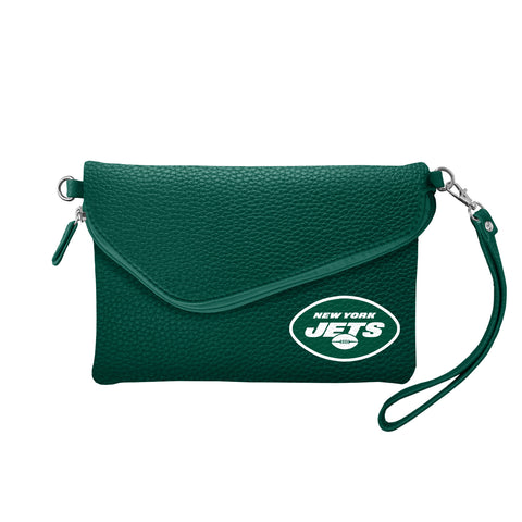 New York Jets Fold Over Crossbody Pebble
