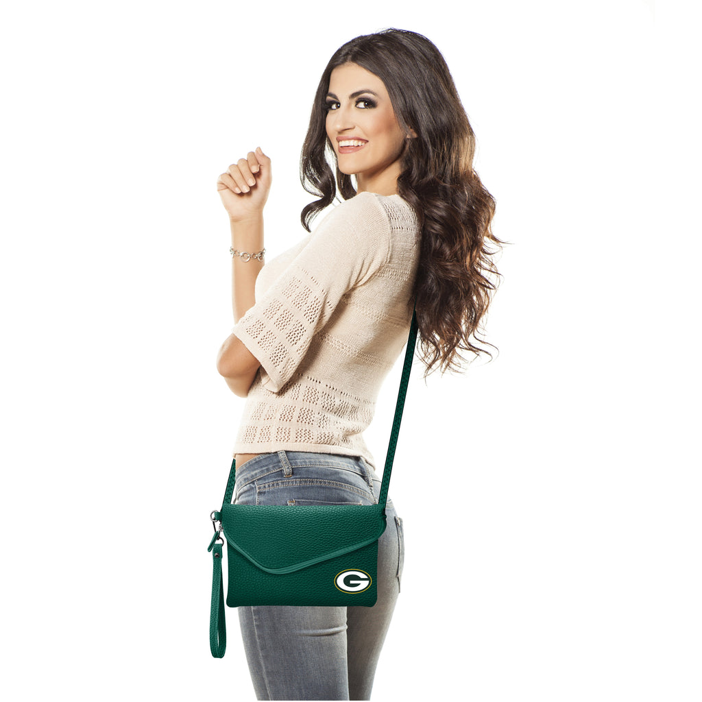 Green Bay Packers Fold Over Crossbody Pebble
