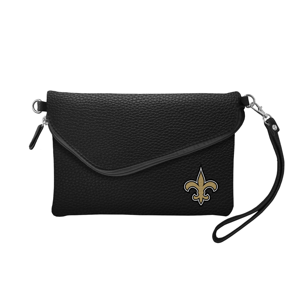 New Orleans Saints Fold Over Crossbody Pebble