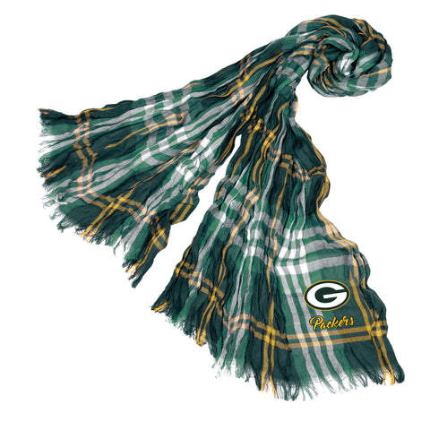 Green Bay Packers Crinkle Scarf Plaid