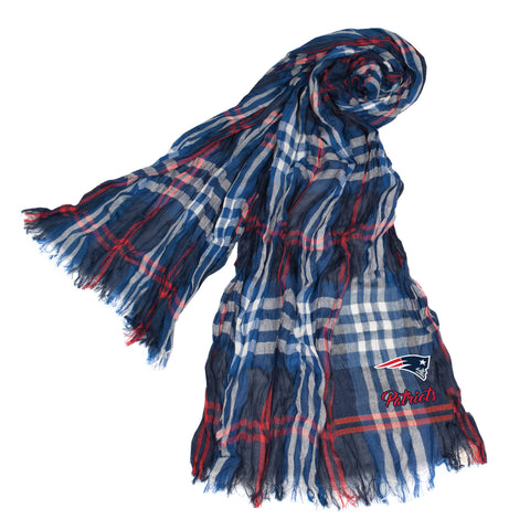 New England Patriots Crinkle Scarf Plaid