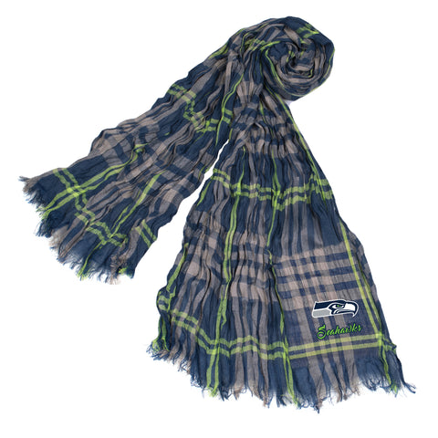Seattle Seahawks Crinkle Scarf Plaid