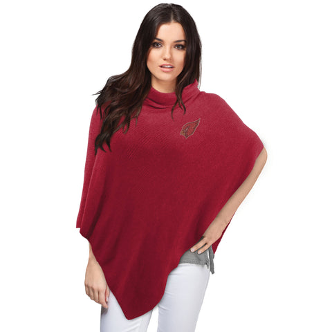 Arizona Cardinals Asymmetrical Crystal Knit Poncho