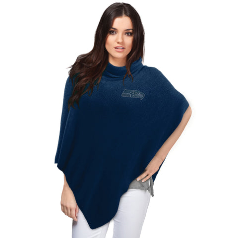 Seattle Seahawks Asymmetrical Crystal Knit Poncho