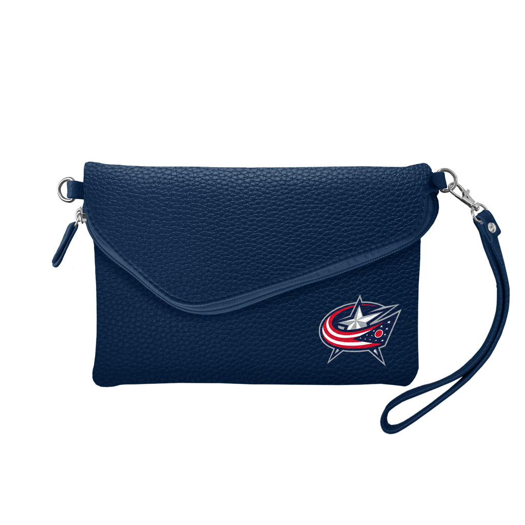 Columbus Blue Jackets Fold Over Crossbody Pebble