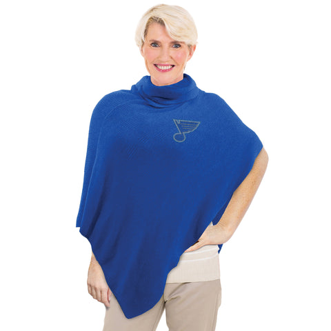 St. Louis Blues Asymmetrical Crystal Knit Poncho