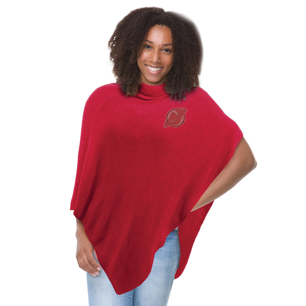 New Jersey Devils Asymmetrical Crystal Knit Poncho