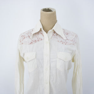 Vintage Womens 70s Small Medium White Tie Dye Shirt Western Cut Blouse - Reunion Vintage Goods