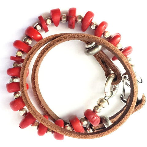 Coral and leather wrap bracelet or necklace.