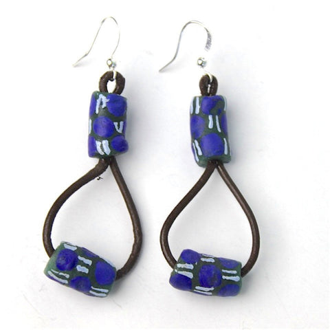 African trade bead and leather earrings.