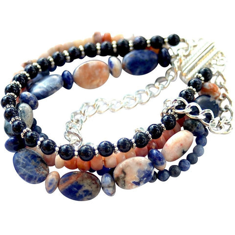 bracelet with sodalite, peruvian opals, goldstone, and sllver chain.