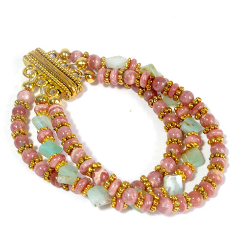 three strand rhodochrosite , amazonite and gold bracelet