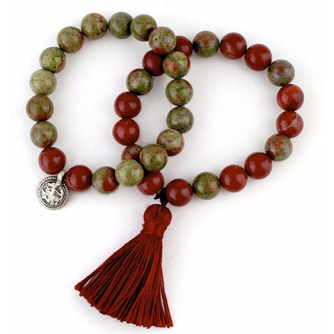 Red jasper and unkanite tassel bracelet set