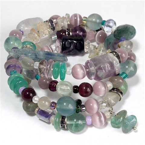 Fluorite and mixed stones colorful bracelet