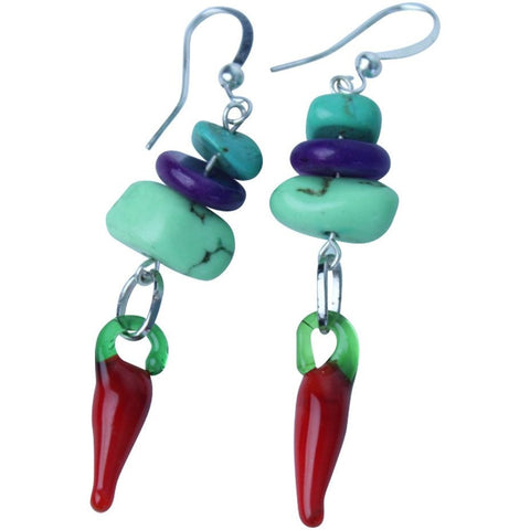 Gaspeite and red chili earrings