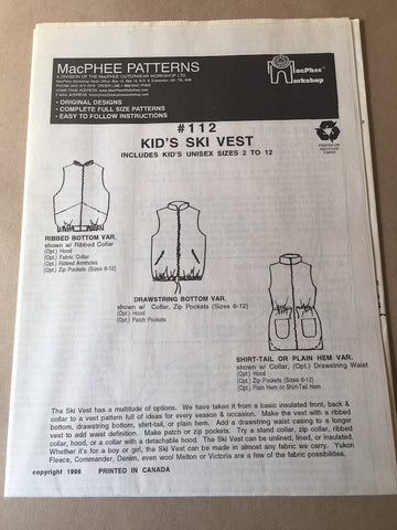 #112 CHILD & YOUTH SKI VEST