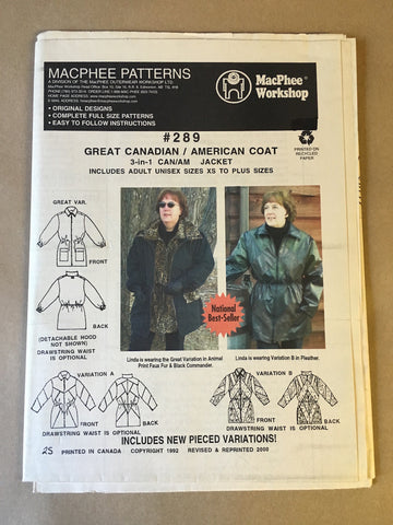#289 GREAT CANADIAN/ AMERICAN COAT