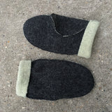 Double Faced Wool - Charcoal/Pastel Green