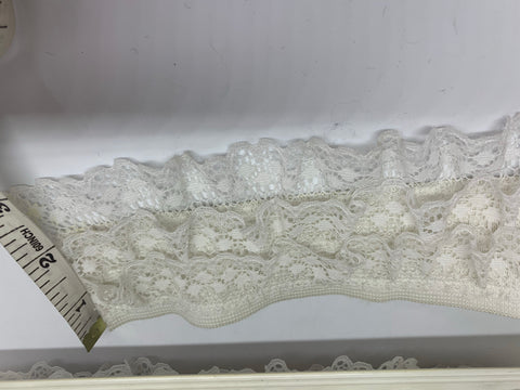 "3"" Ruffled Lace Elastic WHITE"