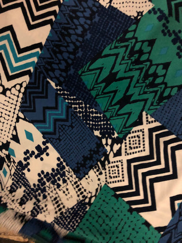 Blue Green Geo poly/spandex print