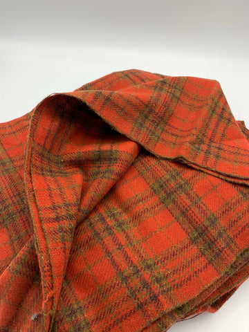 Lightweight Wool Blend  - Red/orange  Plaid
