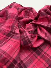 Lightweight Wool Blend  - Pink Plaid