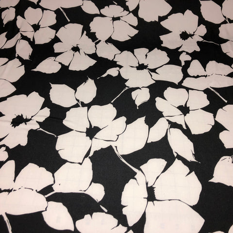 Black/White Floral Poly Print