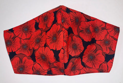 Poppies red/black - FACE MASK