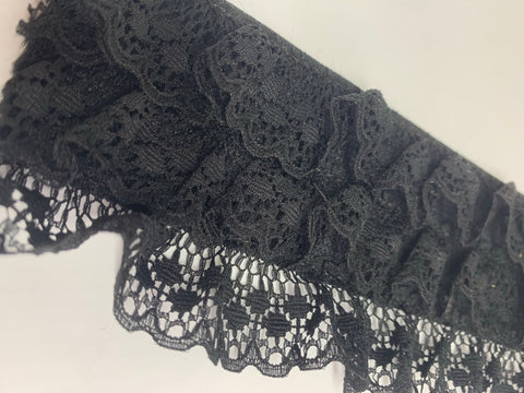 "3"" Ruffled Lace Elastic BLACK"