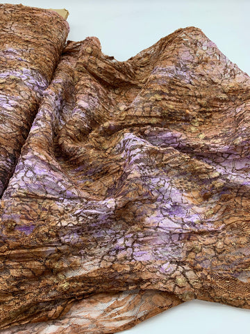 Purple/Brown Lace Fabric